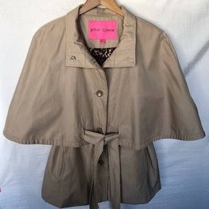 Betsey Johnson Cape Mini Trench Coat Khaki